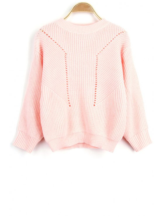 Solid Color Hollow Out Round Neck Long Sleeve Sweater - PINK ONE SIZE(FIT SIZE XS TO M) Mobile