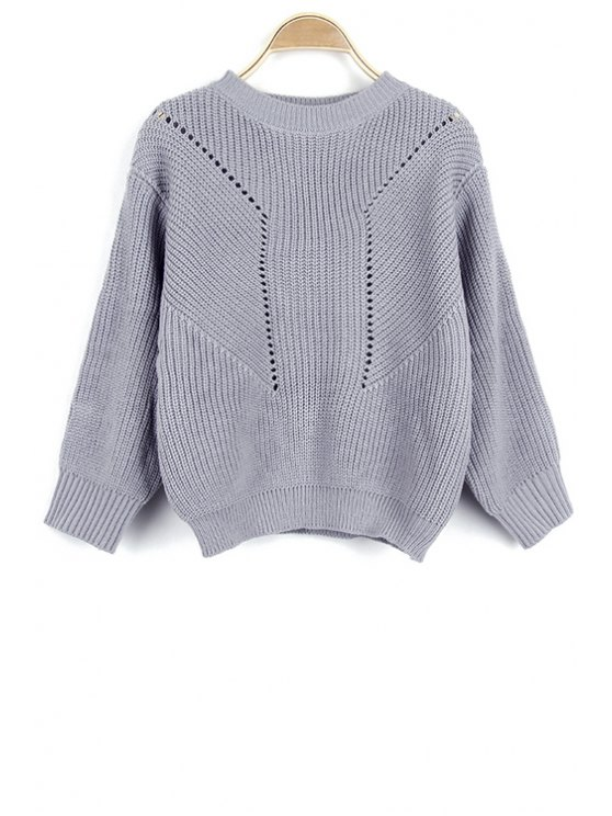 outfit Solid Color Hollow Out Round Neck Long Sleeve Sweater - GRAY ONE SIZE(FIT SIZE XS TO M)