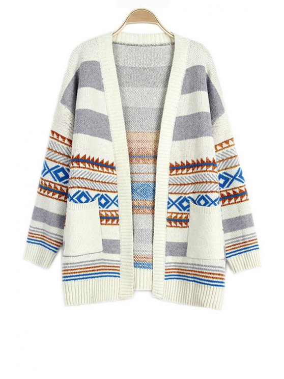 new Loose Geometric Pattern Collarless Long Sleeve Cardigan - OFF-WHITE ONE SIZE(FIT SIZE XS TO M)
