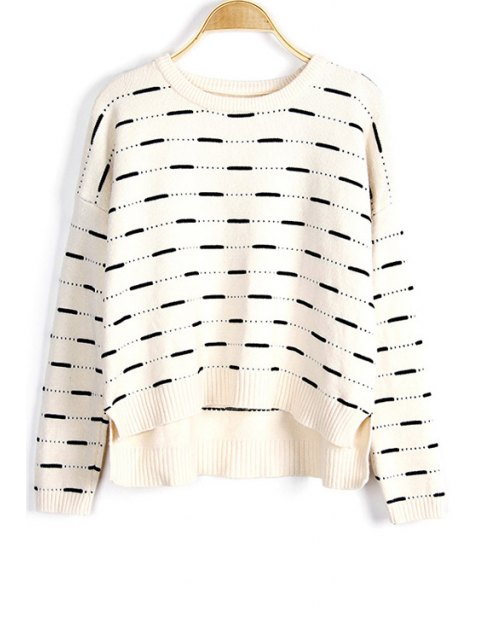 chic Solid Color High-Low Round Neck Long Sleeve Sweater - WHITE ONE SIZE(FIT SIZE XS TO M) Mobile