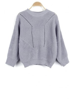 Solid Color Hollow Out Round Neck Long Sleeve Sweater - Gray