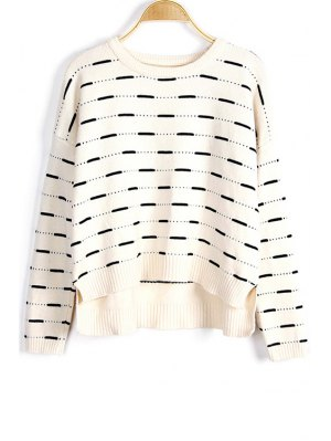 Solid Color High-Low Round Neck Long Sleeve Sweater - White