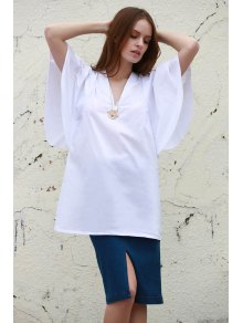 White Plunging Neck Half Sleeve Dress