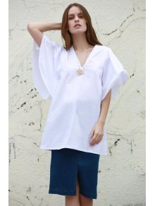 White Plunging Neck Half Sleeve Dress - WHITE S