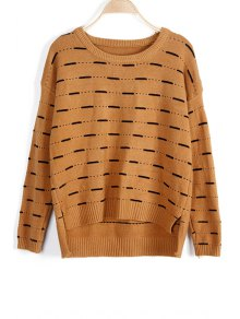 Solid Color High-Low Round Neck Long Sleeve Sweater - Khaki