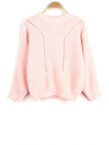 Solid Color Hollow Out Round Neck Long Sleeve Sweater