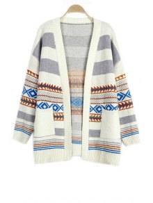 Loose Geometric Pattern Collarless Long Sleeve Cardigan
