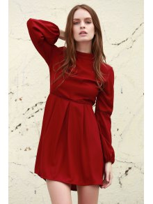 Long Sleeve Dress With Ladder Detail - Deep Red