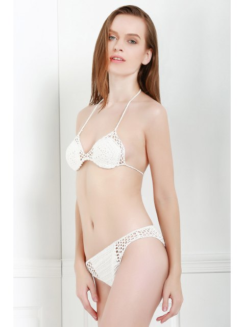 new White Crochet Halter Bikini Set - WHITE ONE SIZE(FIT SIZE XS TO M) Mobile