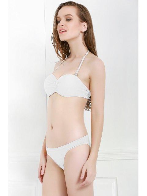 shop Solid Color Openwork Ruffle Bikini Set - WHITE M Mobile