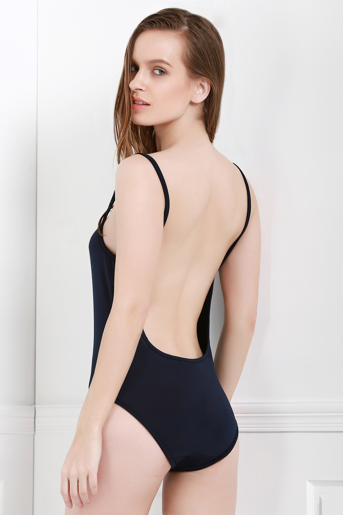 Spaghetti Strap Backless Solid Color One-Piece Swimwear