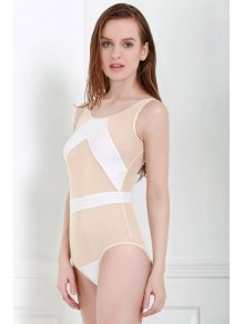 Voile Splicing One-Piece Swimwear - WHITE S