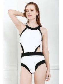Black And White One-Piece Round Neck Swimwear - White S