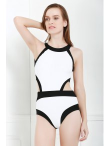 Black and White One-Piece Round Neck Swimwear
