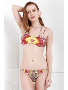 Spaghetti Strap Color Block Print Bikini Set