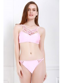 Spaghetti Strap Cross Pink Bikini Set