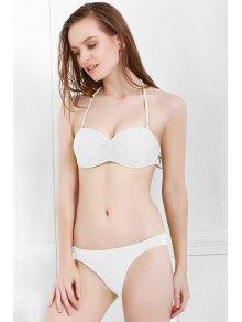 Solid Color Openwork Ruffle Bikini Set - WHITE S