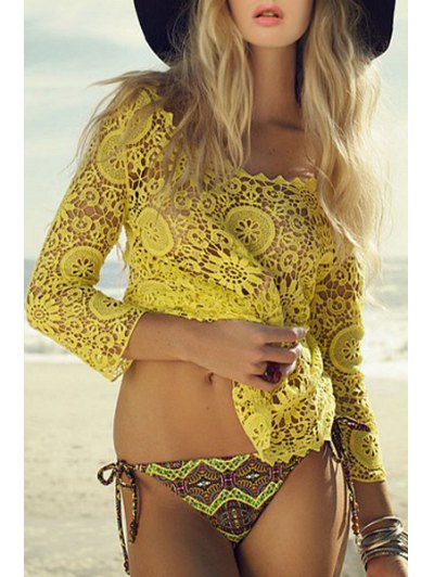 Lace Scoop Neck 3/4 Sleeve Cover Up - Off-white One Size(fit Size Xs To M)