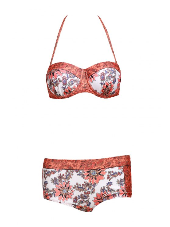 Floral Print Halter Padded Swimsuit - ORANGE XL Mobile