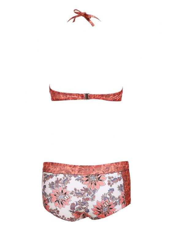 Floral Print Halter Padded Swimsuit - ORANGE L Mobile