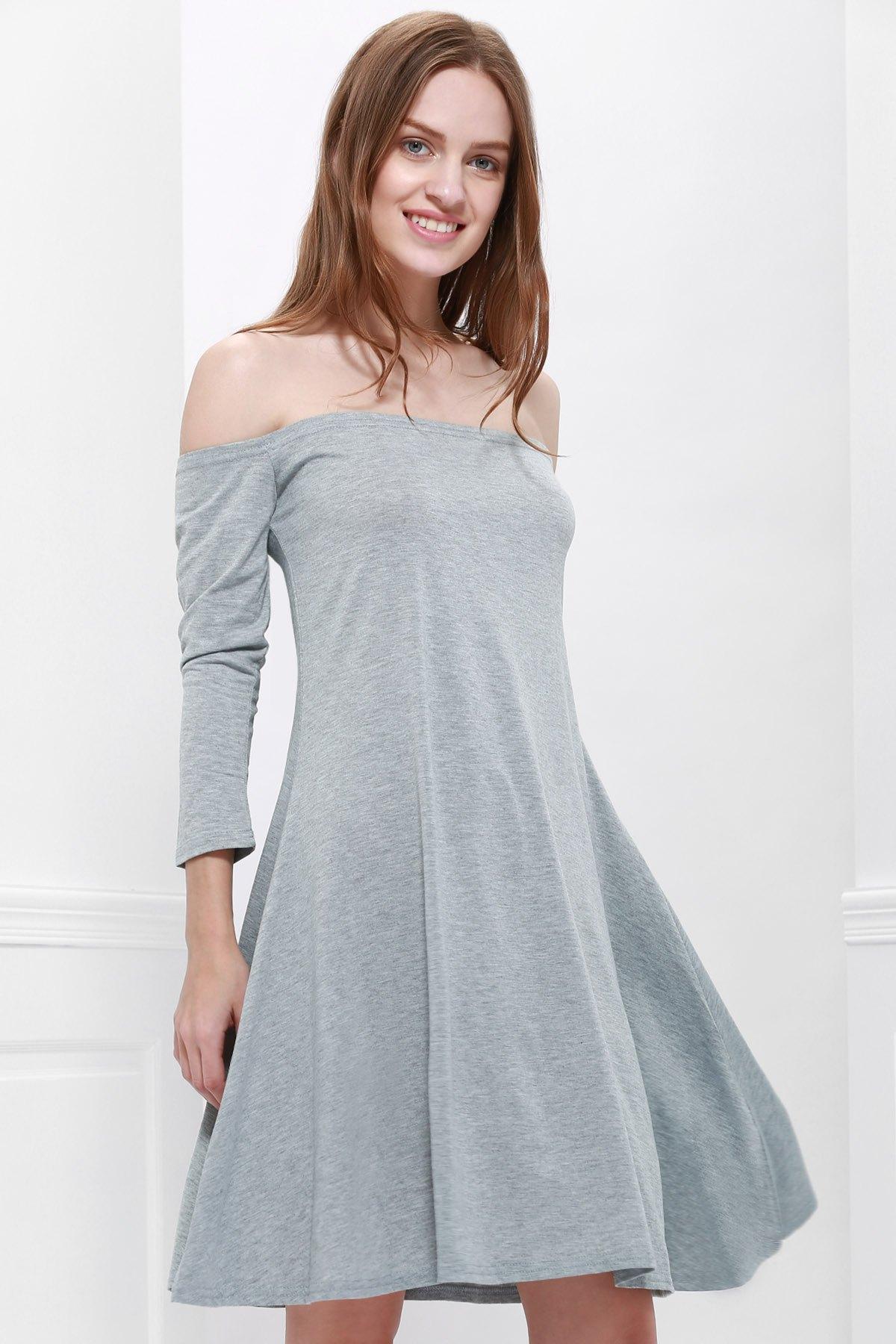 Slash Neck Long Sleeve Gray Dress