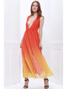 Plunging Neck Ombre Color Prom Dress