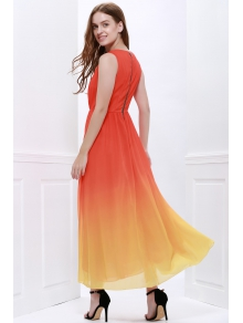 Plunging Neck Ombre Color Prom Dress - JACINTH S