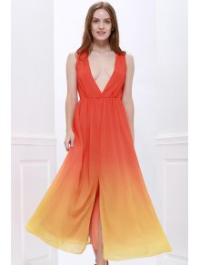 Plunging Neck Ombre Chiffon Dress - JACINTH S
