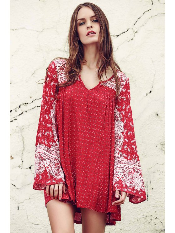 shops Ethnic Print V Neck Long Sleeve Dress - RED XS