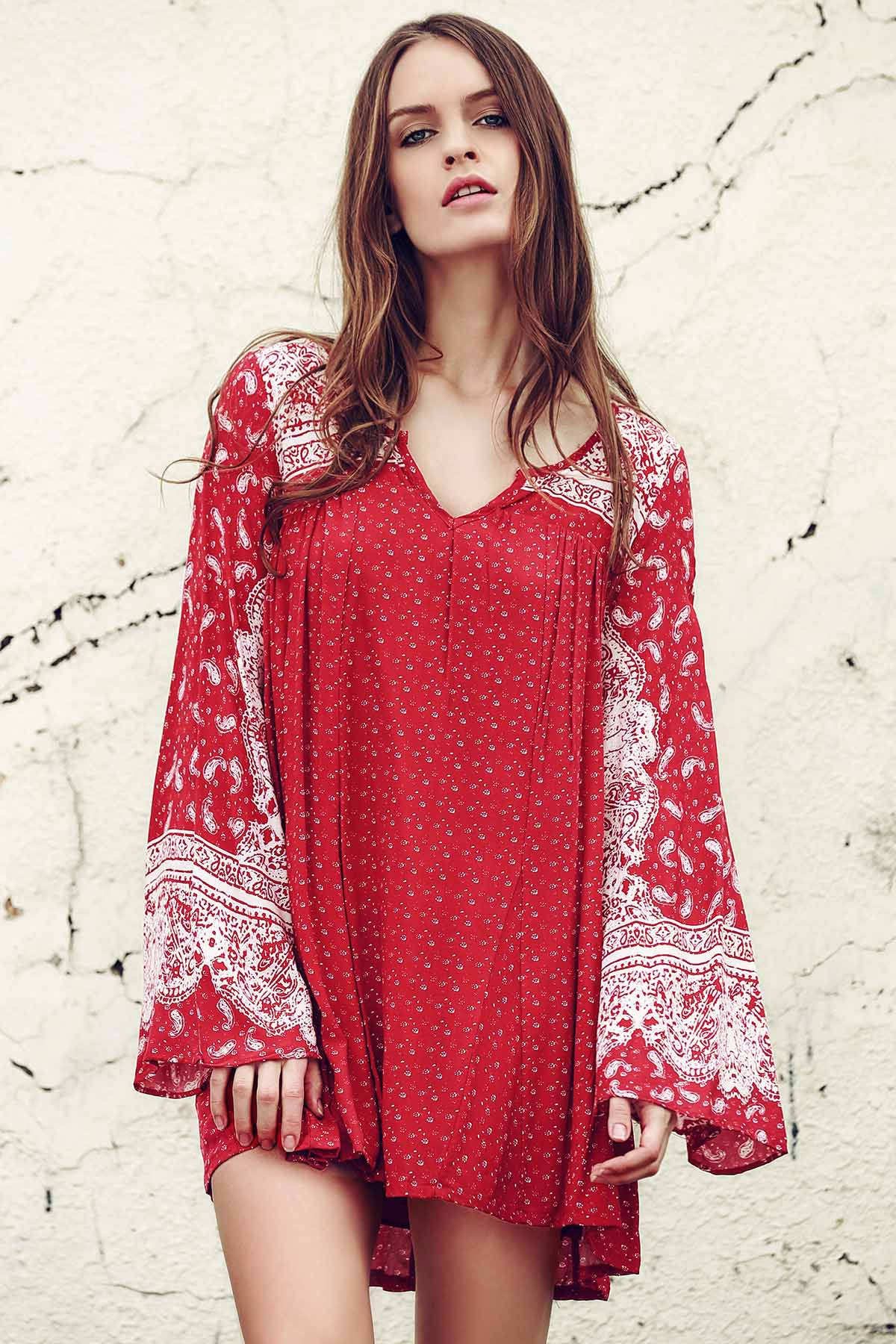 V Neck Long Sleeve Ethnic Print Dress