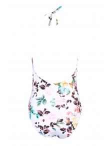 One-Piece Halter Floral Swimwear - WHITE S
