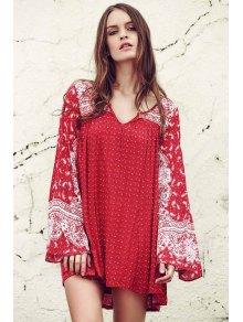 Ethnic Print V Neck Long Sleeve Dress - Red