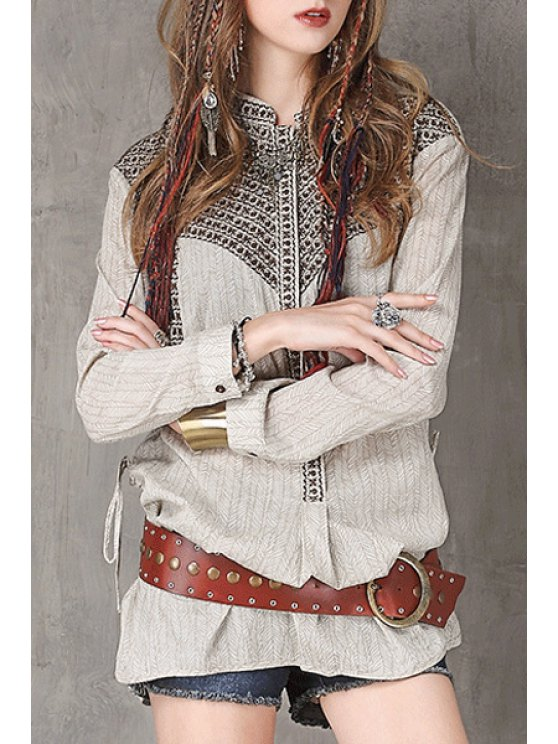 fashion Stand Neck Embroidered Loose Fit Shirt - LIGHT GRAY M