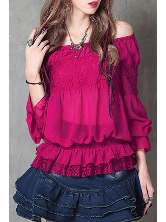 trendy Off-The-Shoulder Frilled Chiffon Blouse - PURPLISH RED ONE SIZE(FIT SIZE XS TO M)