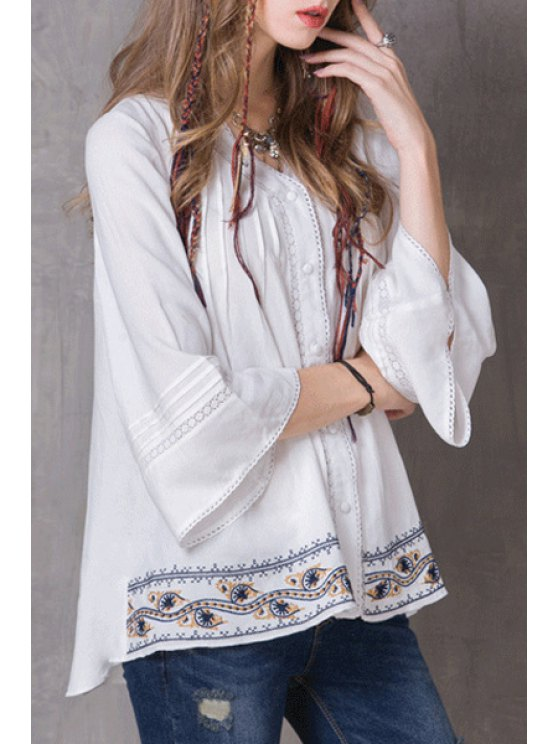 Pleated Embroidered White Top - WHITE M Mobile
