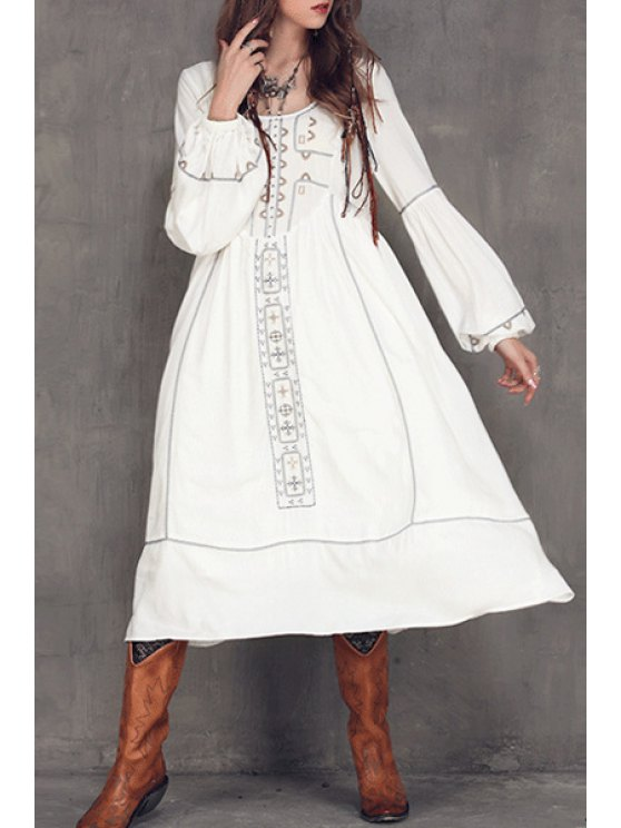 Embroidered Midi Dress With Sleeves - WHITE M Mobile