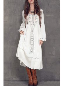 Embroidered Midi Dress With Sleeves - White