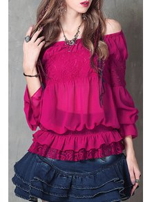Off-The-Shoulder Frilled Chiffon Blouse