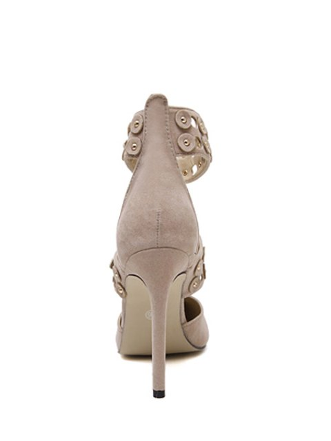 women's Buckles Hollow Out Stiletto Heel Pumps - APRICOT 40 Mobile