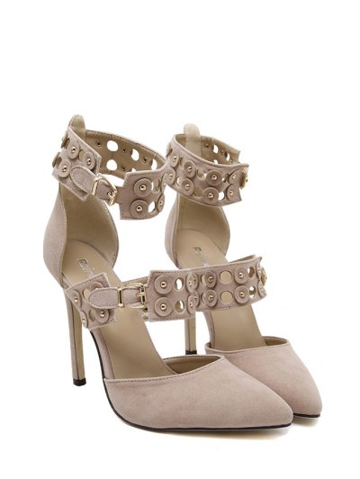Buckles Hollow Out Stiletto Heel Pumps - APRICOT 38 Mobile