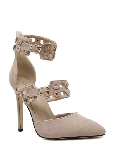 Buckles Hollow Out Stiletto Heel Pumps - APRICOT 40 Mobile