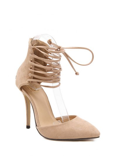 Suede Cut Out Lace-Up Pumps - APRICOT 38 Mobile