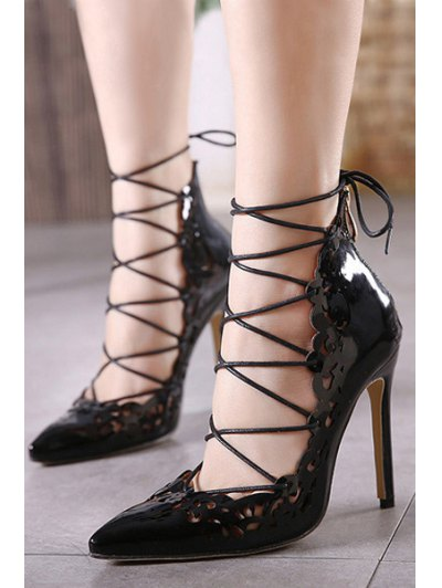 Cross-Strap Openwork Pointed Toe Pumps - BLACK 36 Mobile