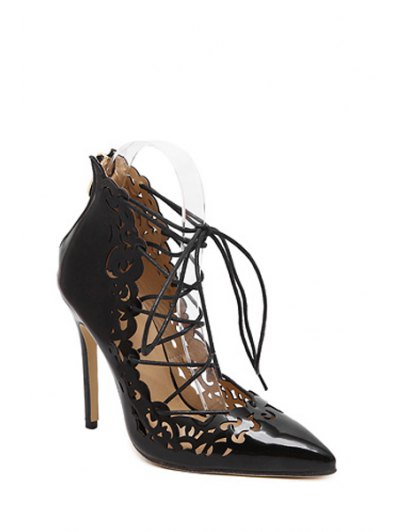 Cross-Strap Openwork Pointed Toe Pumps - BLACK 40 Mobile
