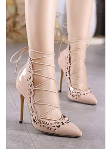 Cross-Strap Openwork Pointed Toe Pumps