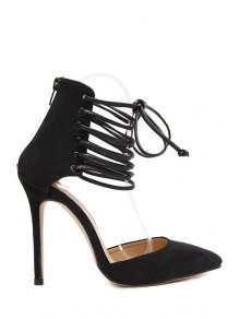 Suede Cut Out Lace-Up Pumps - Black