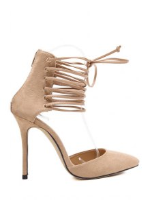 Suede Cut Out Lace-Up Pumps - Apricot