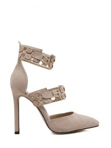 Buckles Hollow Out Stiletto Heel Pumps