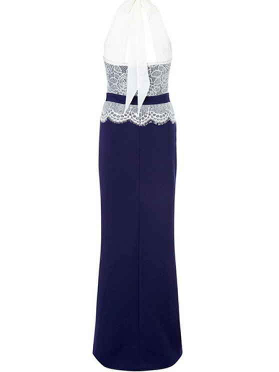 Lace Combined High Slit Prom Dress - BLUE AND WHITE M Mobile