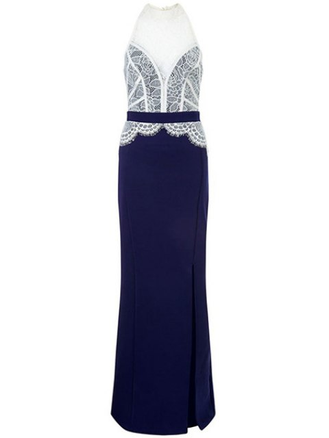 new Lace Combined High Slit Prom Dress - BLUE AND WHITE M Mobile